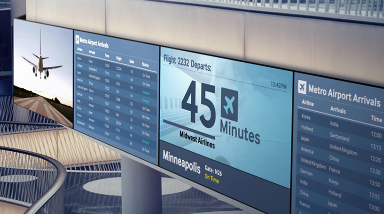 Digital Signage solutions catagory. Show casing an Airport Display example - CompuLab Nordic